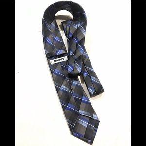 DKNY Black blue stripe pattern silk Tie